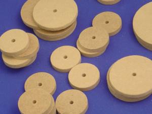 MDF Wheels 74mm w/4mm Diameter Hole - Cat# 83-1251-00